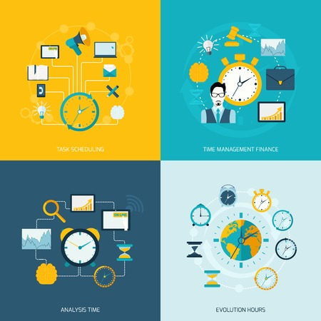 tasks: Time management flat icons set with task scheduling time management finance analysis evolution hours isolated vector illustration