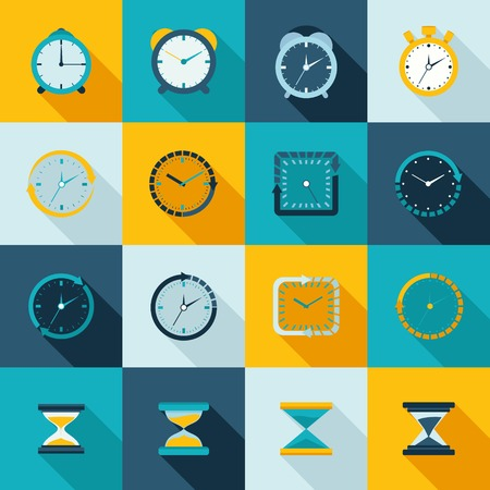 Alarm clock old sand watch stopwatch timer icons flat set isolated vector illustration Vector