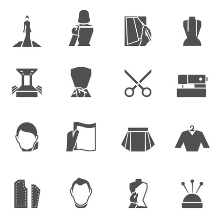 stitching: Clothes designer icons black set with sewing textile and fashion elements isolated vector illustration