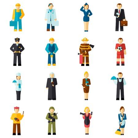 Avatar beroepen platte avatars set met geïsoleerde brandweerman piloot werknemer arts vector illustratie