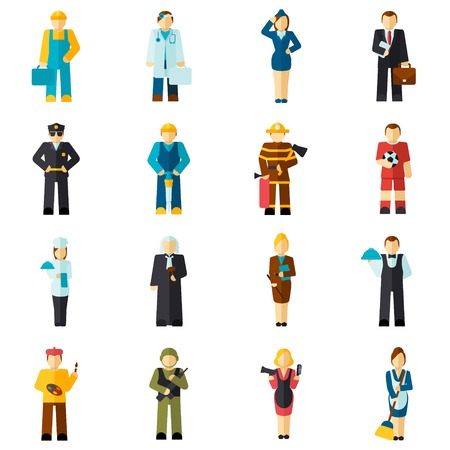 Avatar professions flat avatars set with fireman pilot worker doctor isolated vector illustration Çizim