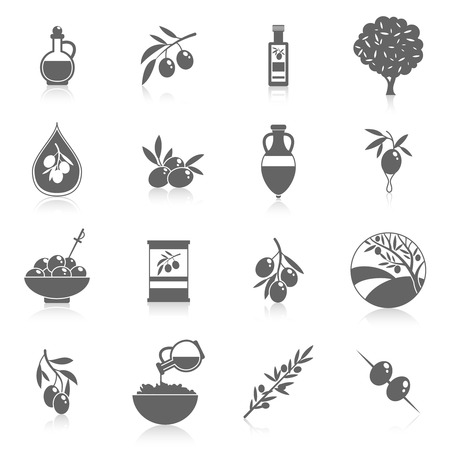 Olives black icons set with tree oil branch leaf isolated vector illustration