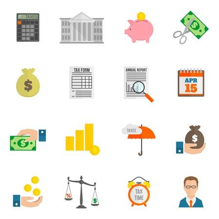 Belasting icoon platte set met geïsoleerde bankgebouw cut vergoedingen vector illustratie
