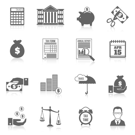 reducing: Tax cutting paying reducing symbols black icons set isolated vector illustration Illustration
