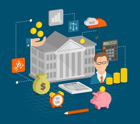 banco dinero: Iconos de Impuestos isom�trica establecen con rentas internas tiempo de servicio ilustraci�n elementos de c�lculo vectorial