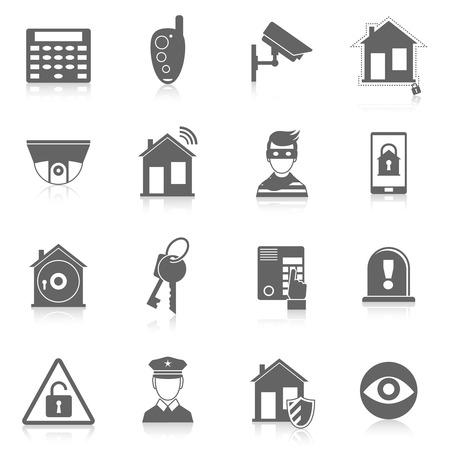 De zwarte pictogrammen van het de inbrekeralarmsysteem van de huisveiligheid geplaatst geïsoleerde vectorillustratie