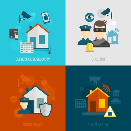 alarme securite: s�curit� � domicile ic�nes plates fix�es avec la maison intelligente voleur syst�me d'alarme de garde isol� illustration vectorielle Illustration