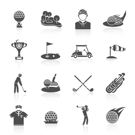 golf cart: Golf game sport and activity black icons set isolated vector illustration