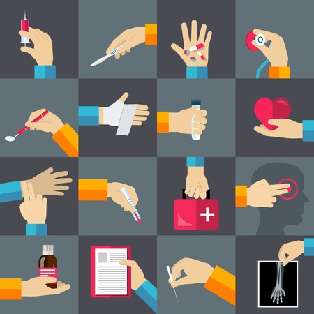 Medical hands with thermometer medicine syringe flat icons set isolated vector illustration Vector