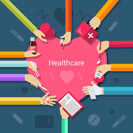 caring hands: Healthcare concept with hands holding medical and pharmacy elements and heart in the middle flat vector illustration