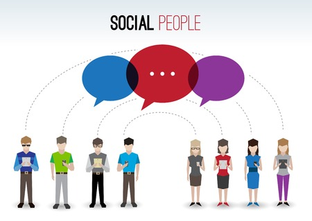 Adult pixel men and women avatars with mobile device speech bubbles people chat social network concept vector illustration Vector