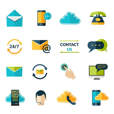 phone us: Contact us phone customer service user support icons set isolated vector illustration