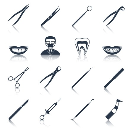 Dental instruments icons set black with health care stomatology accessory isolated vector illustration