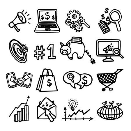 optimisation: SEO internet marketing software optimisation analysis network sketch decorative icons set isolated vector illustration