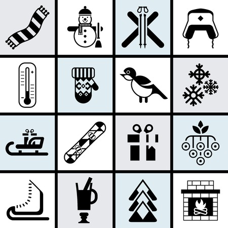 mittens: Winter icons set black with bullfinch, snowflake mittens fireplace isolated vector illustration.