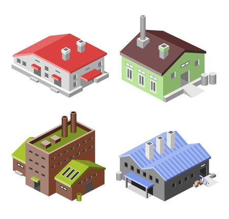 industry concept: Factory industry manufactory production technology buildings isometric decorative icons set isolated vector illustration.