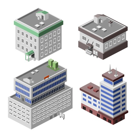 Business modern 3d urban office buildings decorative icons set isometric isolated vector illustration Illustration