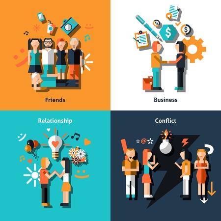 conflictos sociales: Gente relaci�n social con los iconos de conflicto de amor negocio amigos conjunto aislado ilustraci�n vectorial.