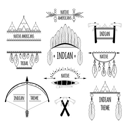 indian headdress: Indian native americans tribal decorative elements sketch labels set isolated vector illustration