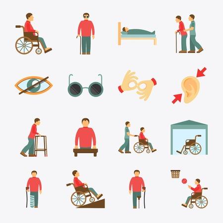 personas discapacitadas: Las personas con discapacidad se preocupan de asistencia y de accesibilidad plana iconos de ayuda conjunto aislado ilustraci�n vectorial Vectores