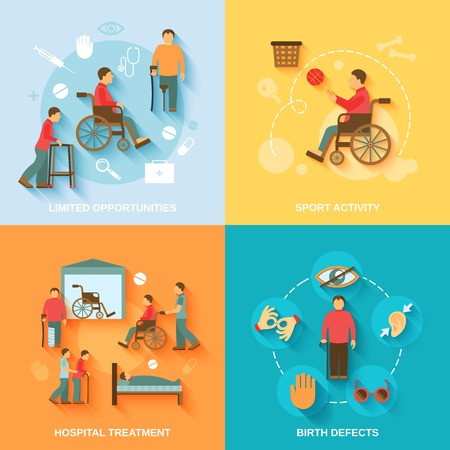 help: Disabled flat icons set with limited opportunities sport activity hospital treatment birth defects isolated vector illustration