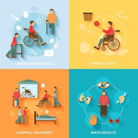Gehandicapte vlakke pictogrammen set met geïsoleerde beperkte mogelijkheden sportactiviteit behandeling in het ziekenhuis geboorteafwijkingen vector illustratie