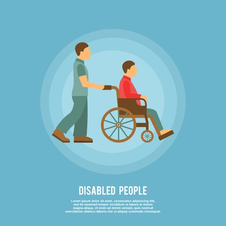 Disabled male person sitting in wheelchair and hospital assistant poster vector illustration Illustration