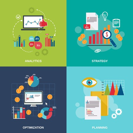 finance icon: Business data flat icons set with analytics strategy optimization planning isolated vector illustration