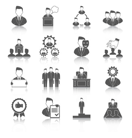 Executive employee people management leadership and teamwork black icons set isolated vector illustration
