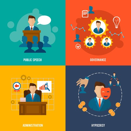 administration: Executive flat icons set with public speech governance administration hypocrisy isolated vector illustration.
