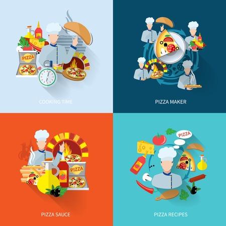 Iconos planos pizzero establecen con recetas de salsas tiempo de cocción ilustración vectorial aislado
