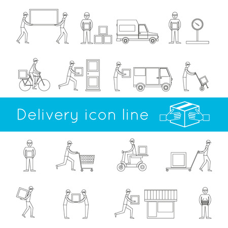 food industry: Delivery freight logistic business service driver icons outline set isolated vector illustration Illustration