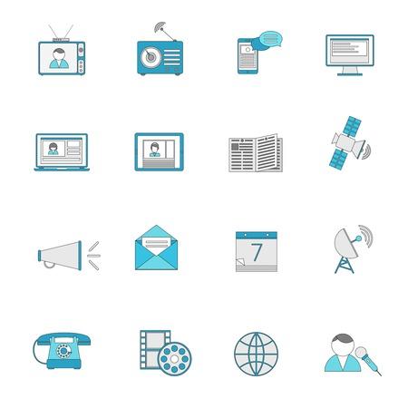 posting: Iconos de la comunicaci�n Medios l�nea plana conjunto de publicar disparar radiodifusi�n social Ilustraci�n vectorial aislado. Vectores