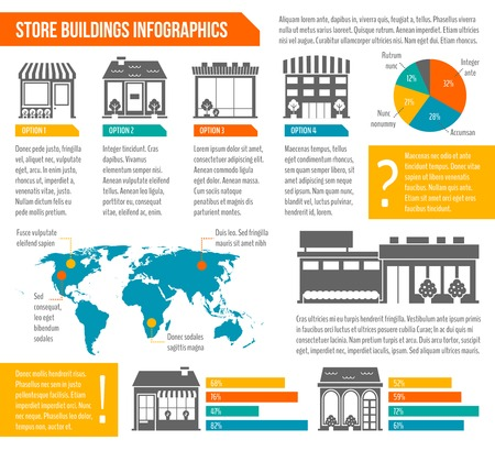 Store shop business buildings infographics set with world map and chart templates vector illustration Illustration