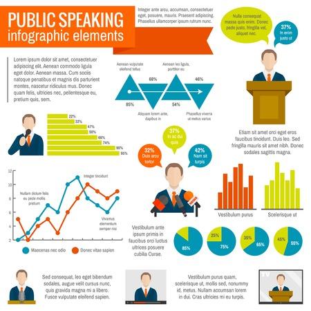 oratory: Hablar en público conferencia presentación seminario elementos infográficos de difusión establece la ilustración vectorial Vectores