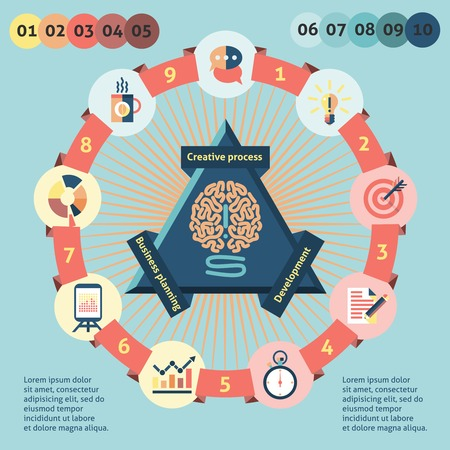 creative force: Idea infographic set with human brain and creative process icons vector illustration