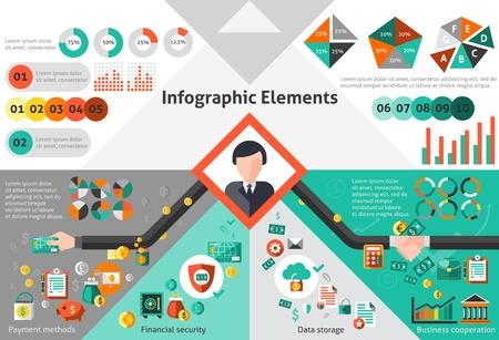 methods: Finance infographic set with payment methods data storage paper elements vector illustration Illustration