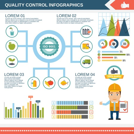 Quality control product water construction infographic set with charts and diagram template vector illustration Vector