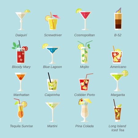Alcohol cocktails icons flat set with daiquiri screwdriver cosmopolitan isolated vector illustration Vectores