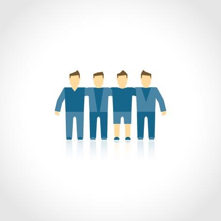 fraternidad: Amigos hermandad hombres de la empresa social, la amistad comunidad concepto de ilustraci�n vectorial