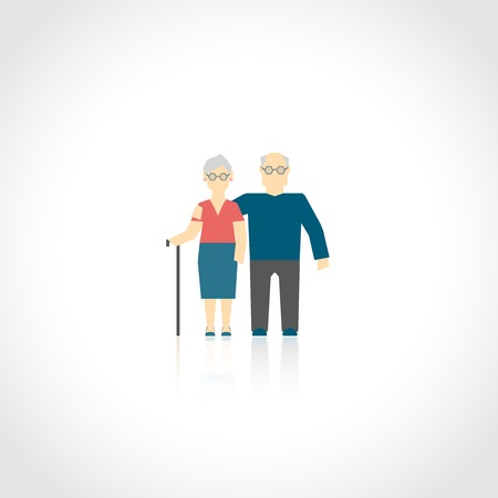 active seniors: Senior grandparents couple mature people family concept flat icon isolated on white vector illustration