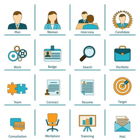 applicant: Human resources personnel recruitment training and interview strategy flat set icons with applicant portfolio isolated vector illustration Illustration