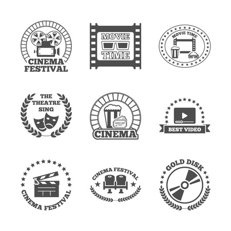 Cinema movie theater golden disk best video festival black retro style labels icons set isolated vector illustration Vector