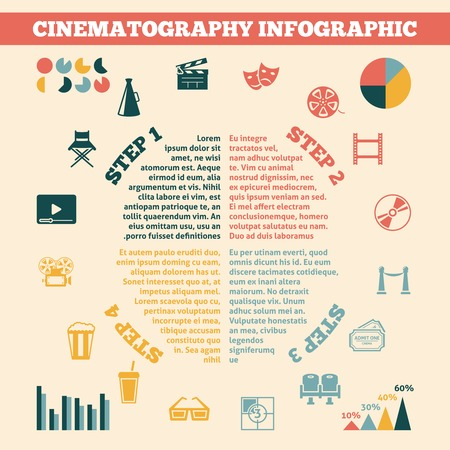 Commercial cinematography film production development in four steps infographics with statistic charts poster print flat vector illustration