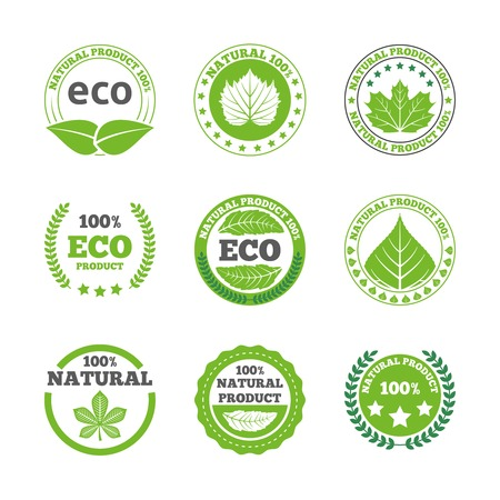 poster concepts: Ecological green leaves symbols earth friendly organic quality bio products round labels collection abstract isolated vector illustration