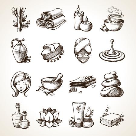竹タオル香りキャンドル分離ベクトル イラスト スパ スケッチ装飾的なアイコンを設定します。