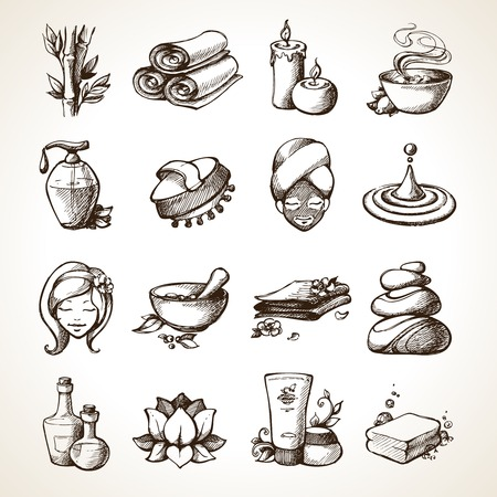 massage stones: Spa Sketch Decorative Icons Set With Bamboo Towels Aroma Candles Isolated Vector Illustration
