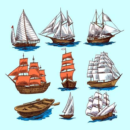 Żeglarstwo jachtów i żaglowców łodzi kolorowe elementy szkicu dekoracyjne izolowane ilustracji wektorowych