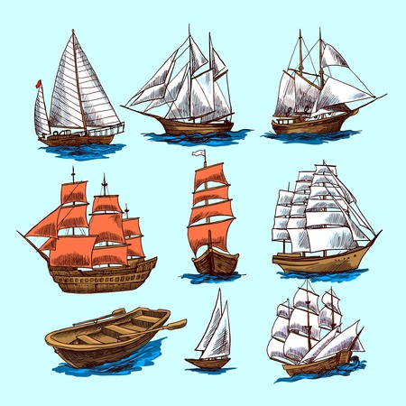 Sailing tall ships yachts and boat colored sketch decorative elements isolated vector illustration Vettoriali