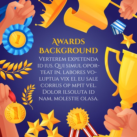 award winner: Award and prizes poster with hands holding victory cups and champion medals vector illustration.